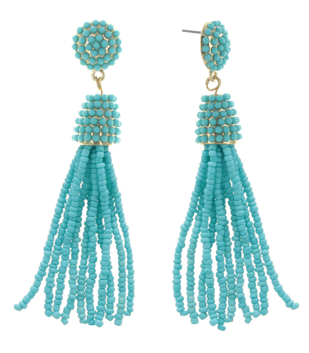 Confetti Beaded Tassel Earrings