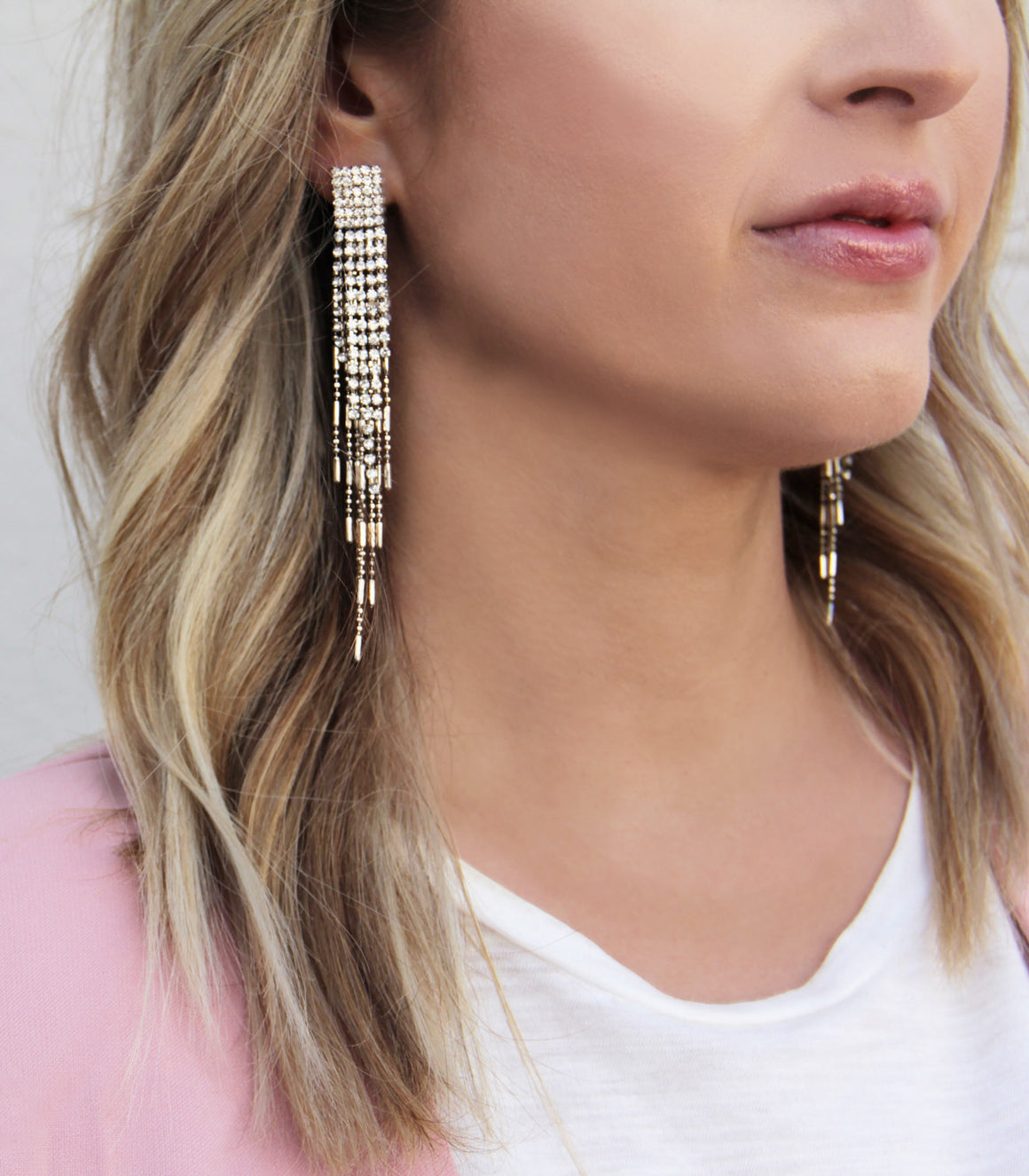 Dramatic dangling rhinestone fringe earrings