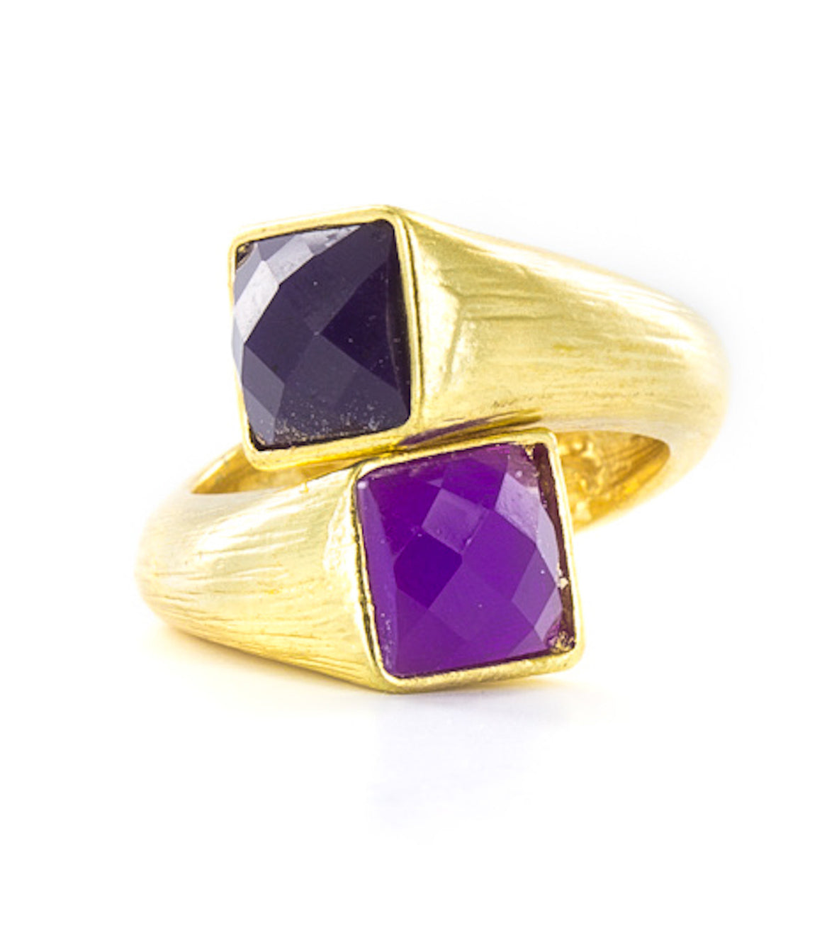Multigolor faceted square gem wraparound ring.
