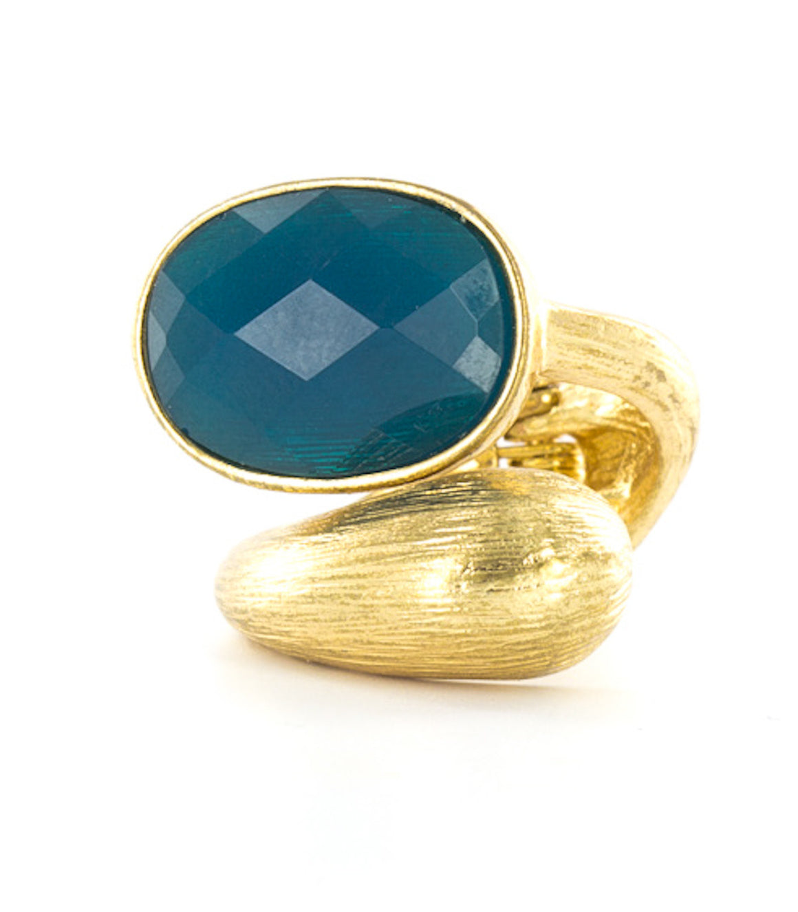 Bright faceted gem wraparound ring.