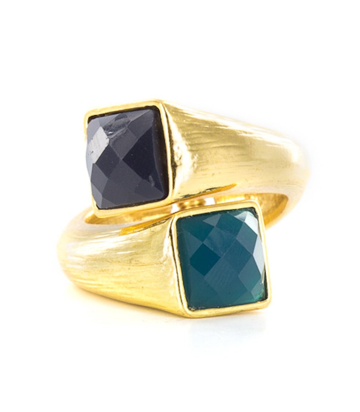 Faceted Square Gem Gold-Tone Hinged Ring