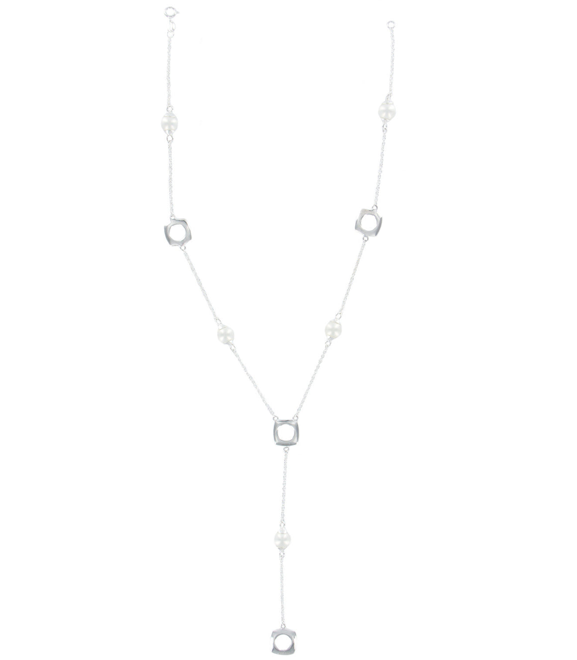 Sterling Silver pearl geometric Lariat Necklace