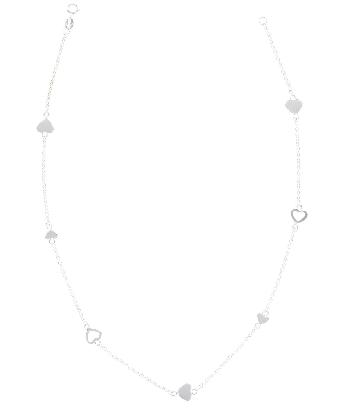 Polished heart cutout Sterling Silver Necklace.