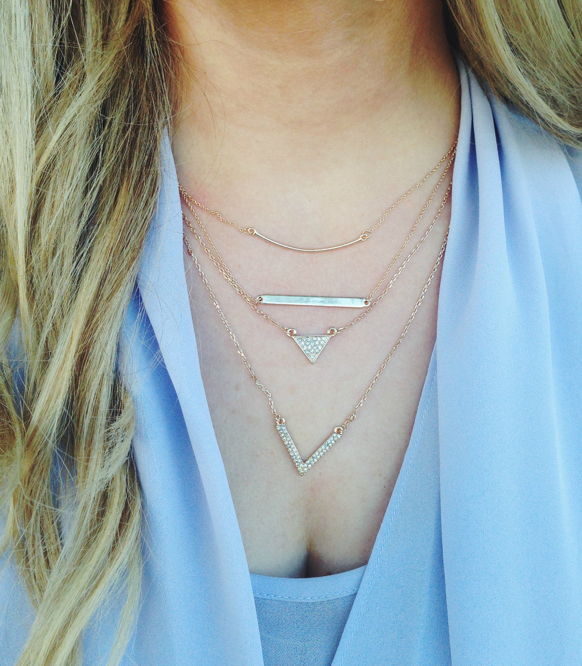 Geometric triangle two layer necklace.