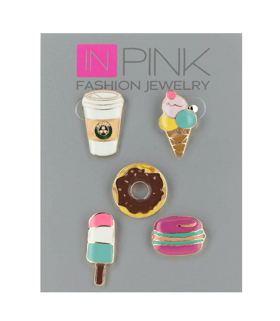 Colorful food pins, coffee,donut,ice cream, popsicle, macaron