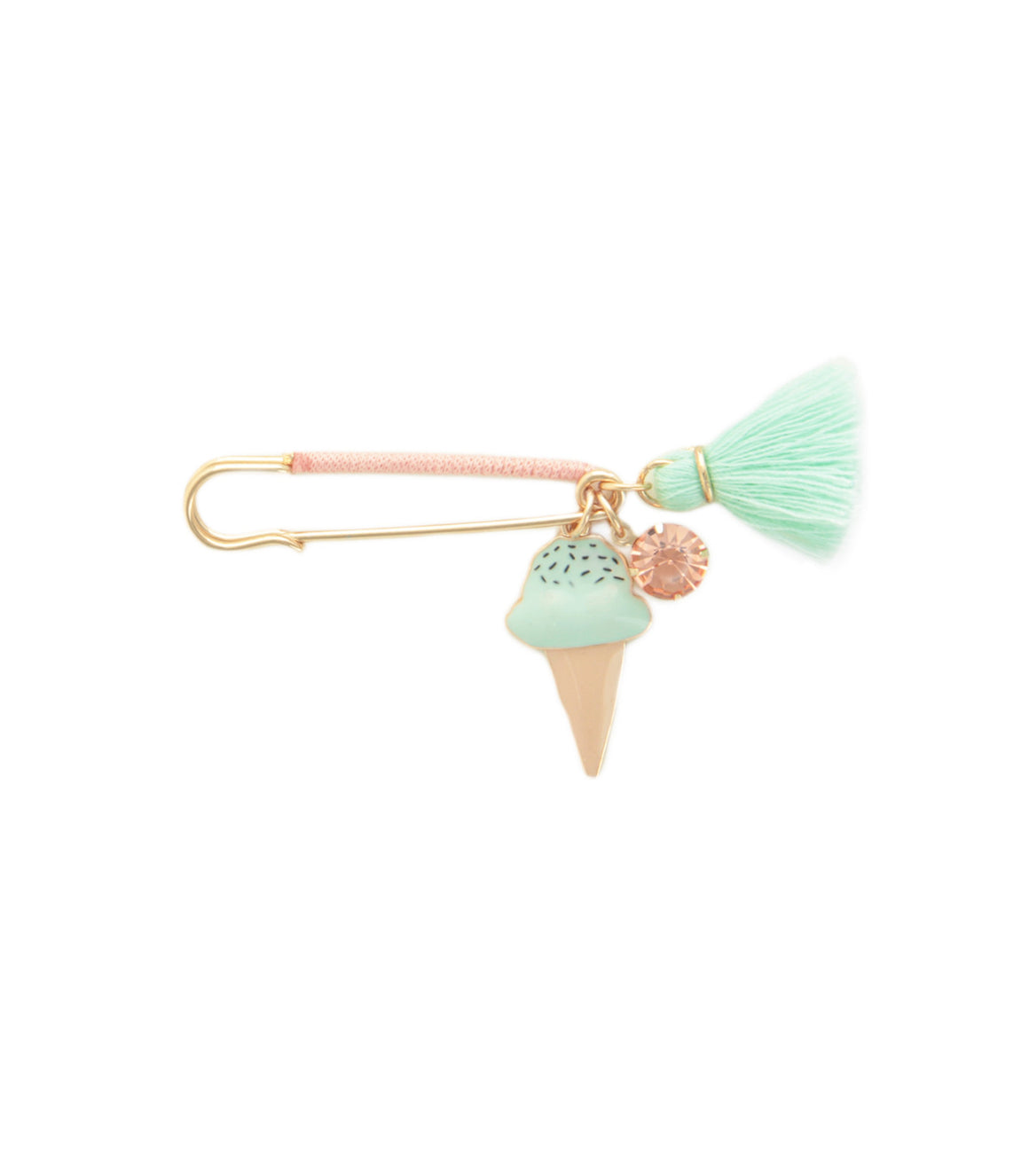 Mint Ice Cream Charm Safety Pin