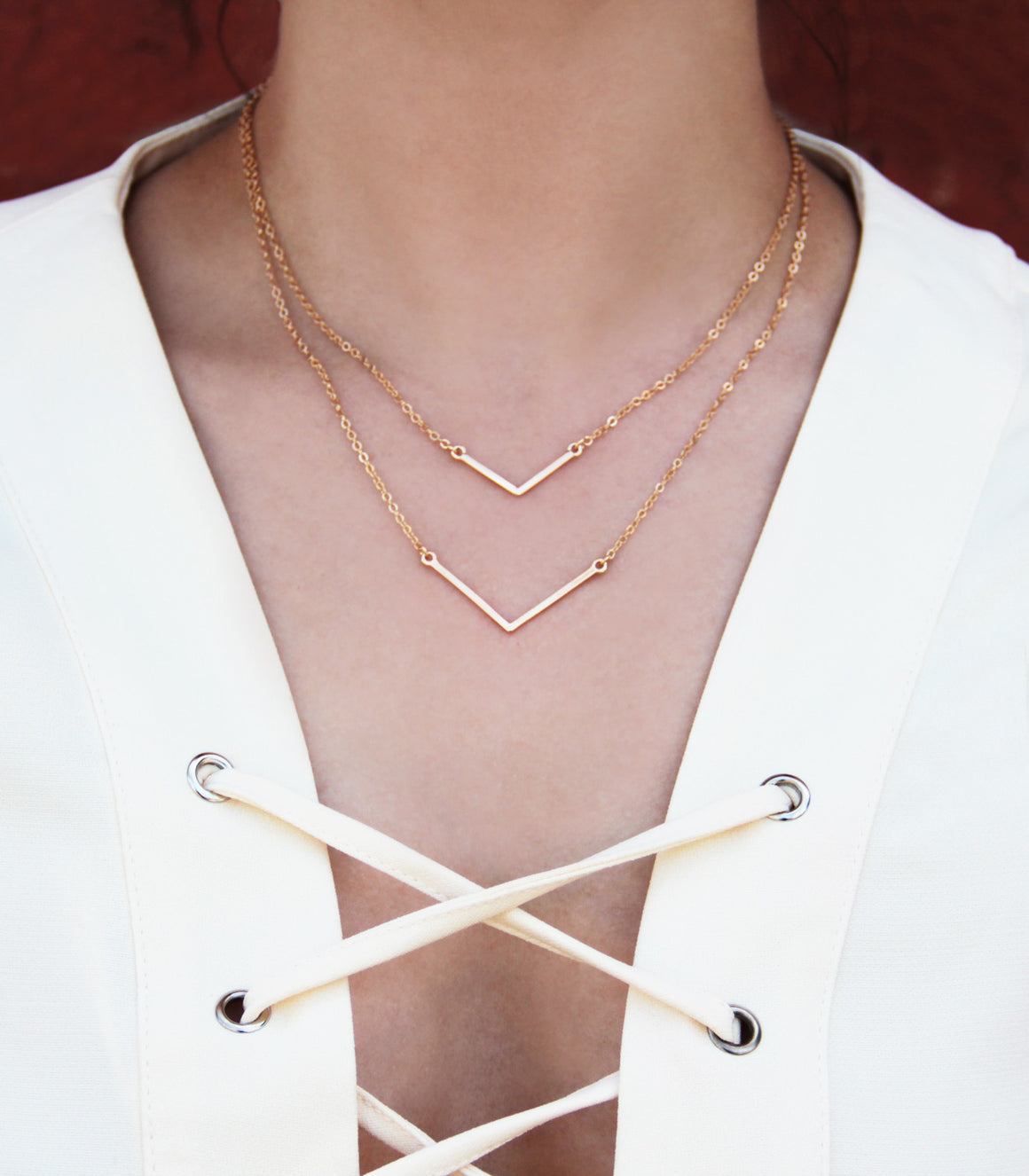 Minimalist, geometric triangle Bar Necklace