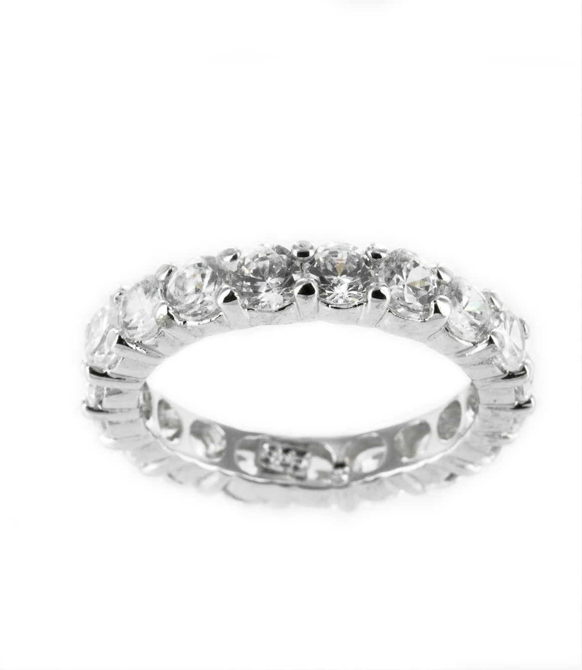 Cubic zirconia band sterling silver ring.