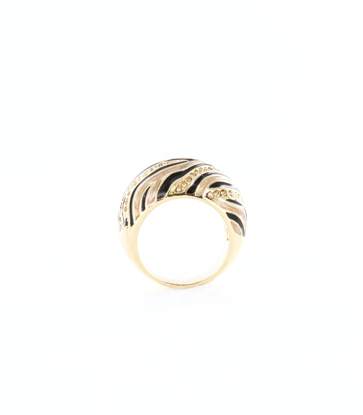 Abstract stripe zebra tiger dome ring.