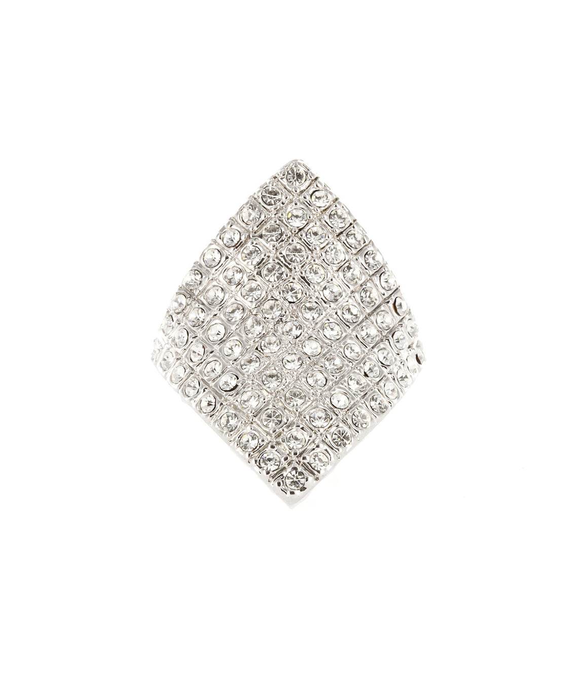 Ombre diamond-shape rhinestone cocktail ring.