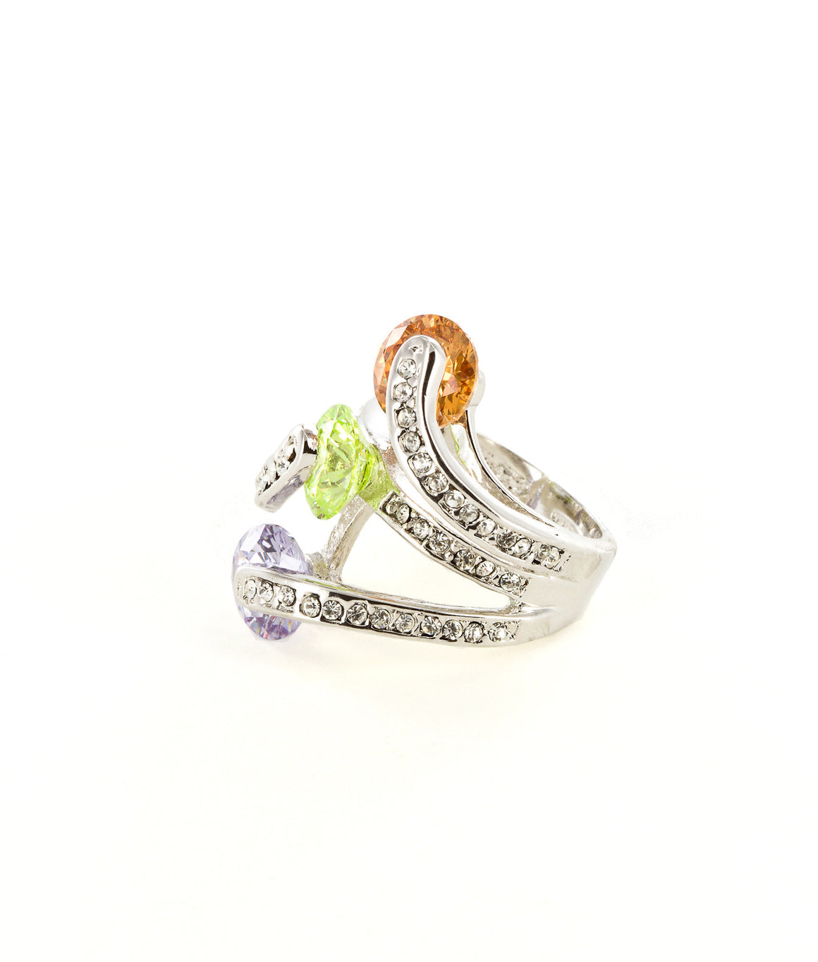 Wraparound cocktail ring with bright colorful rhinestones.