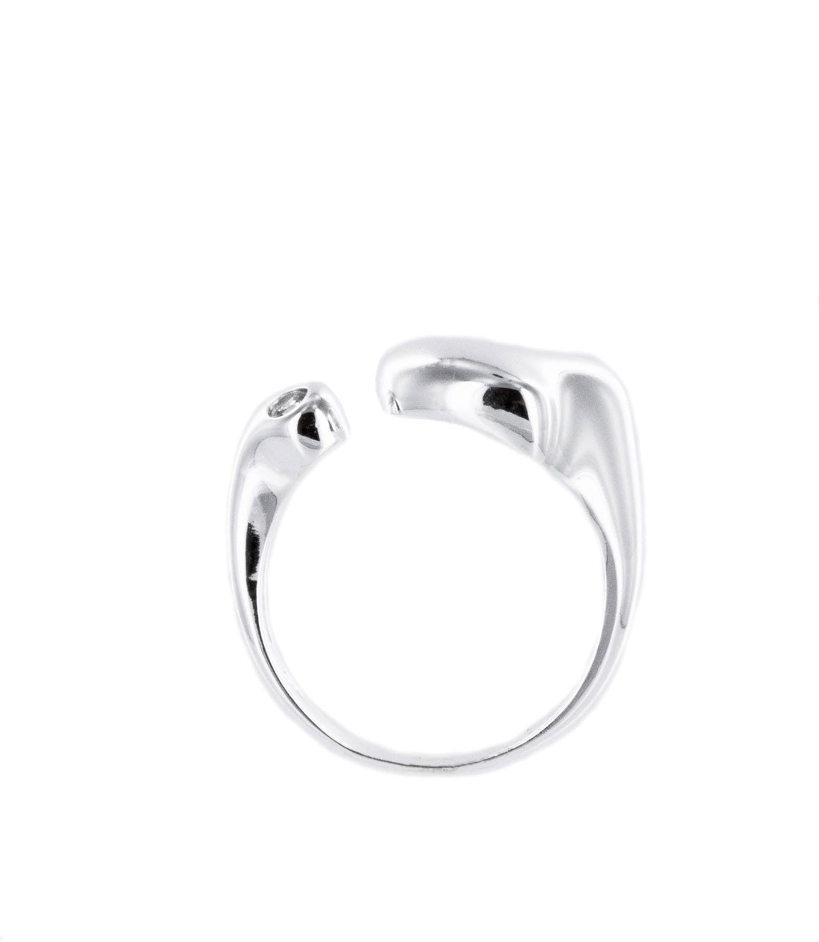 Precious polished sterling silver heart wraparound ring.
