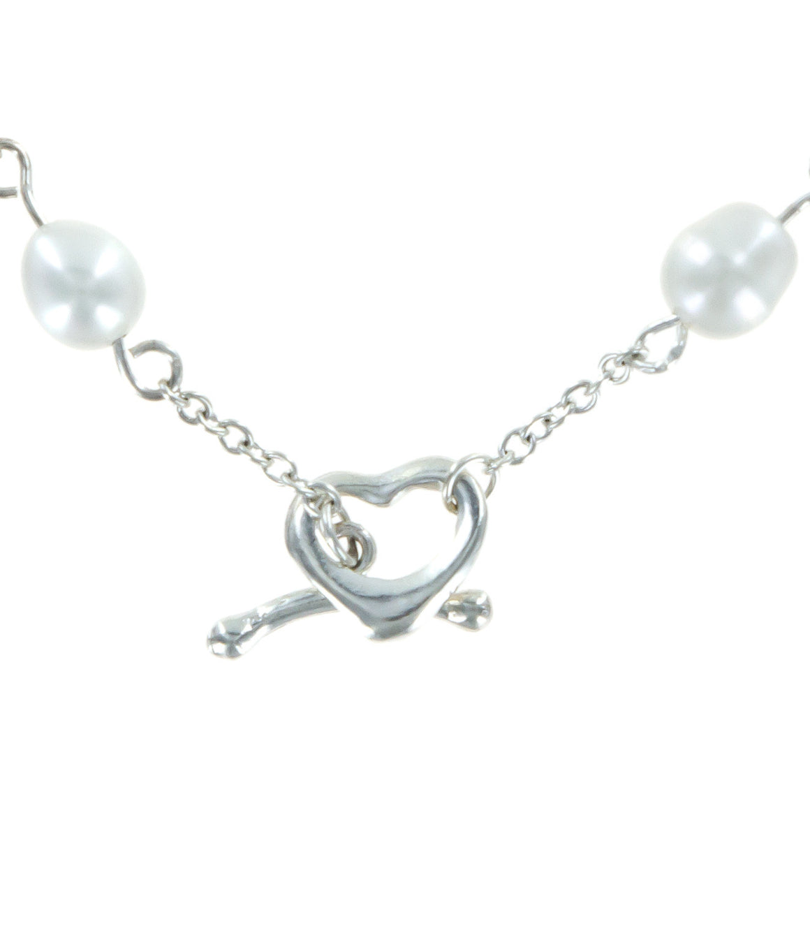 Open cut heart sterling silver and pearl strand toggle bracelet