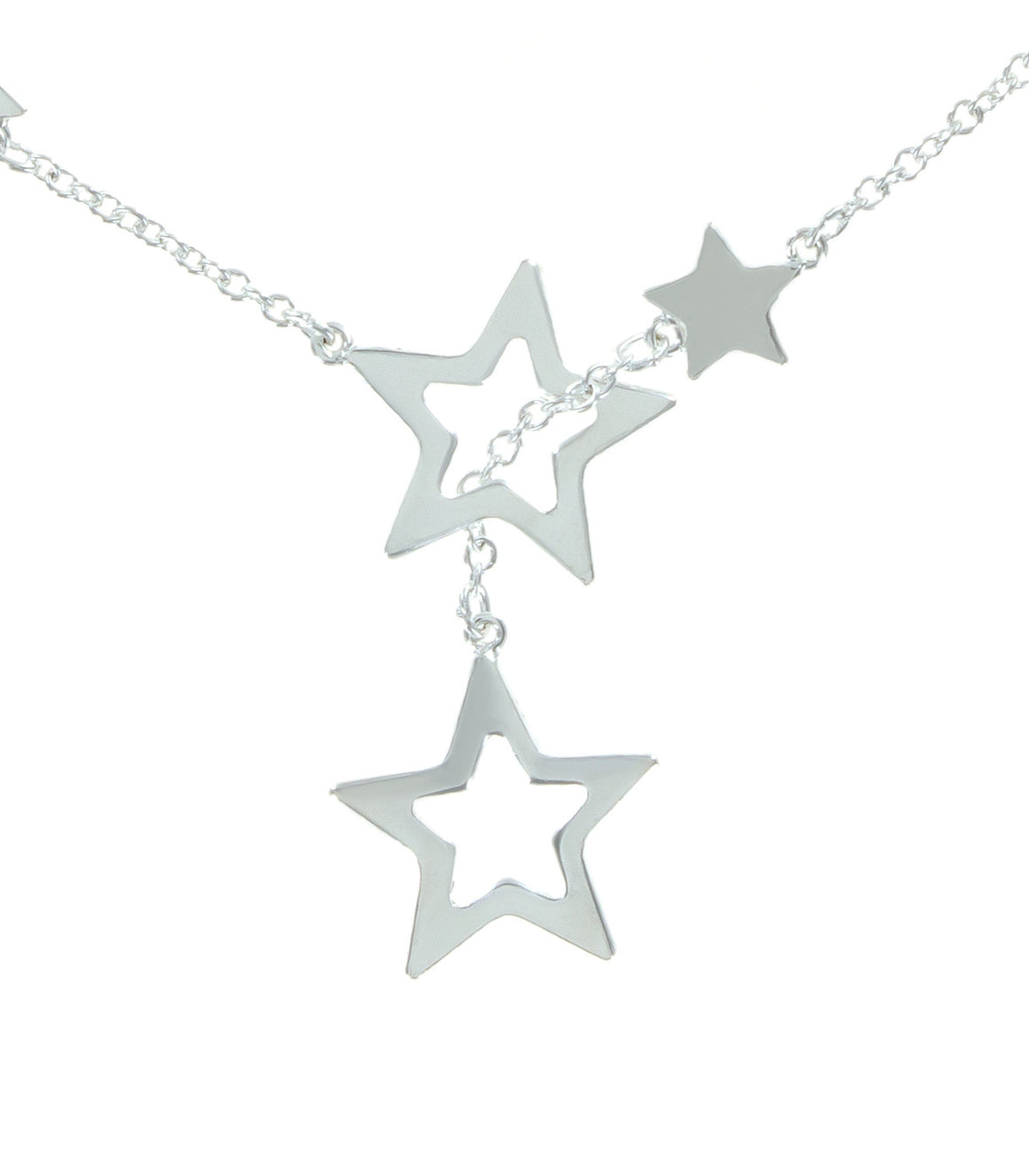 Open cut star sterling silver lariat bracelet with clasp.