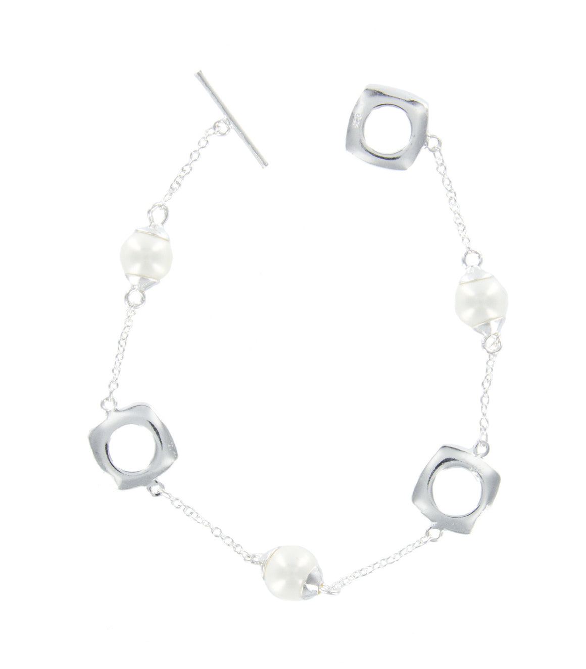 Open cut curvilinear sterling silver and pearl strand toggle bracelet