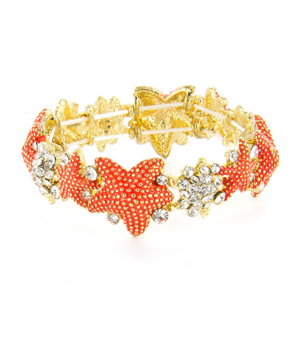 Sealife inspired textured colorful rhinestone stretch bracelet.