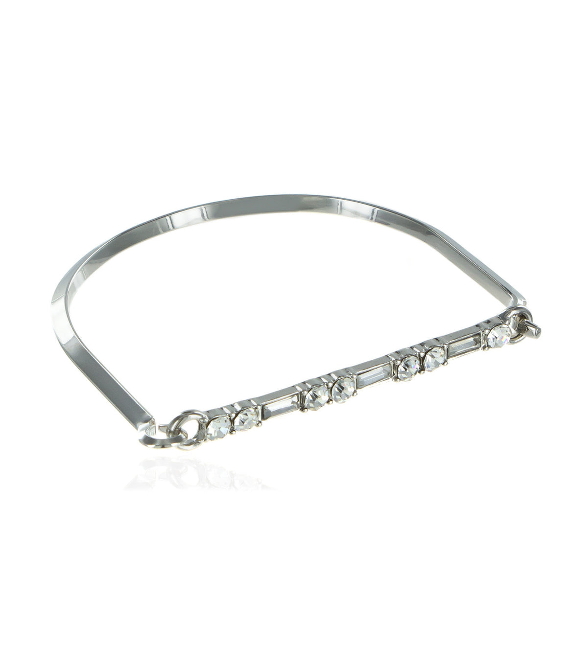 Straight bar rhinestone hinged cuff