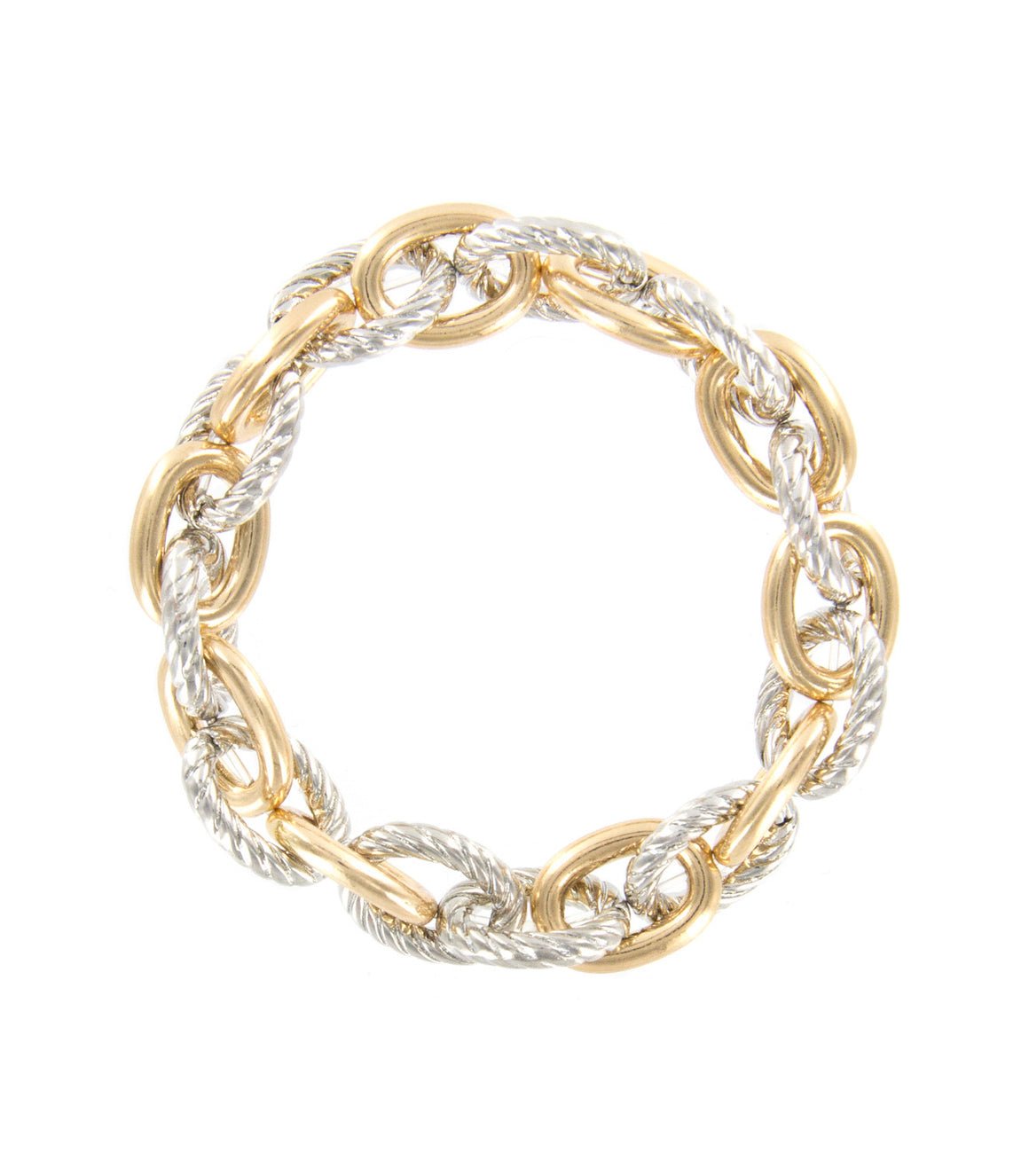 Twisted link chain stretch mixed metal bracelet.