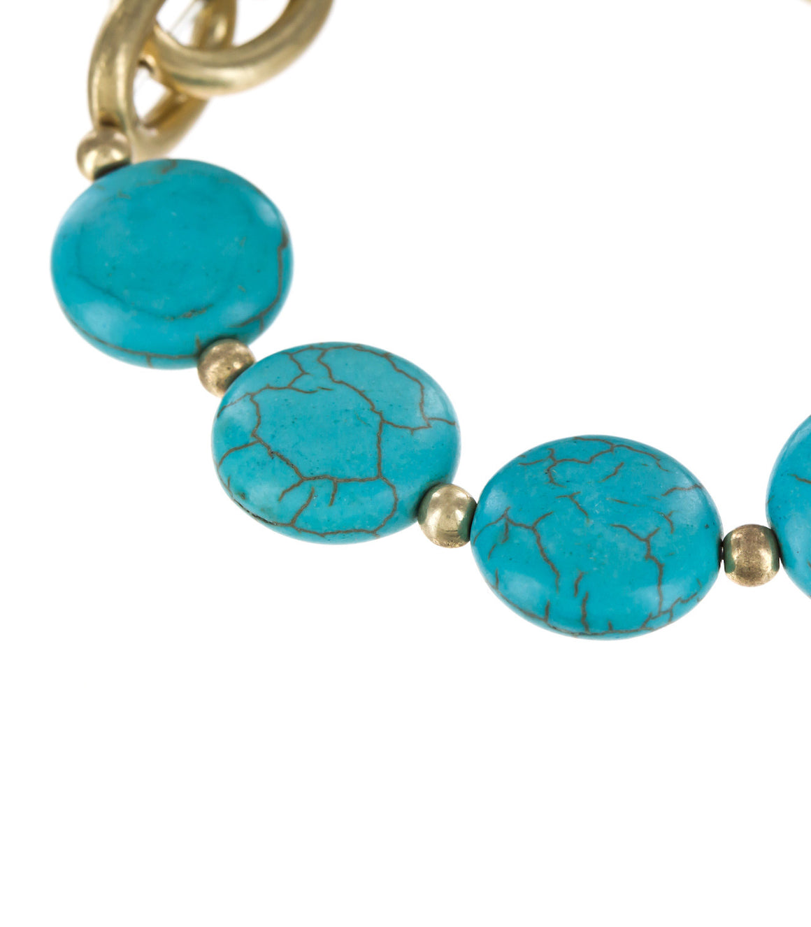 Polished Stone Discs Stretch Bracelet in Turquoise