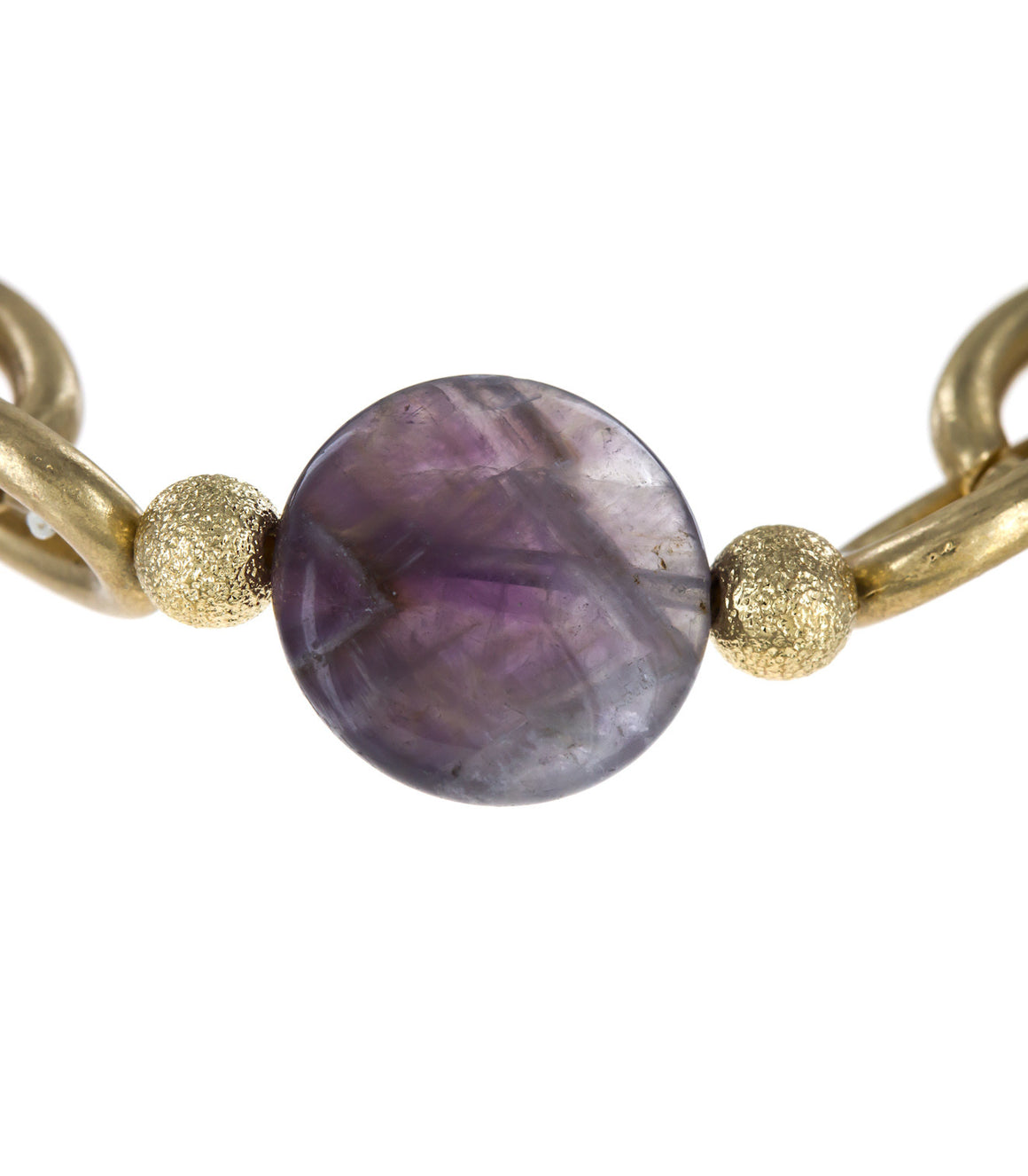 Polished Stone Disc Stretch Chain Bracelet