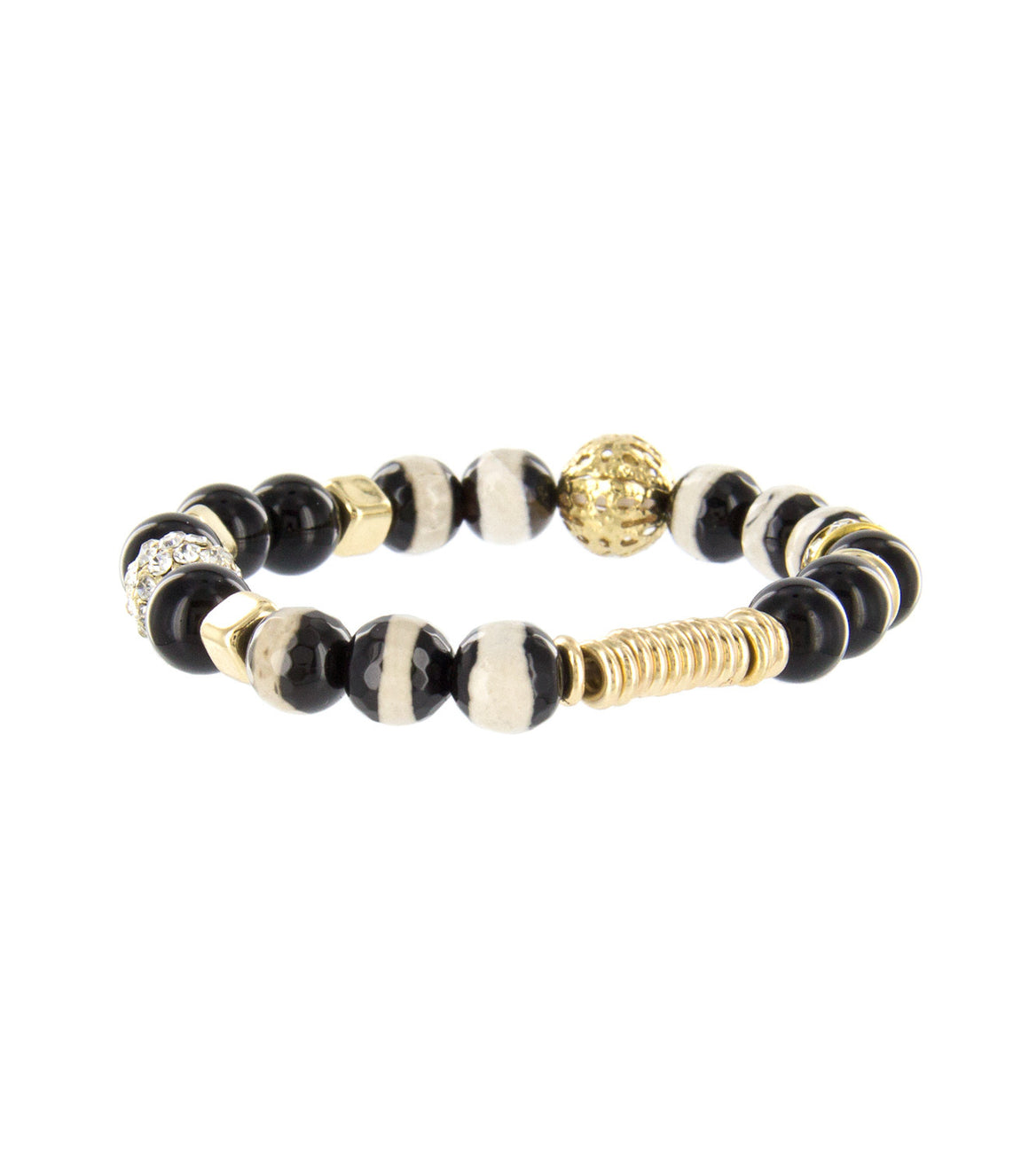 Abstract pattern black and white Bead Bracelet.