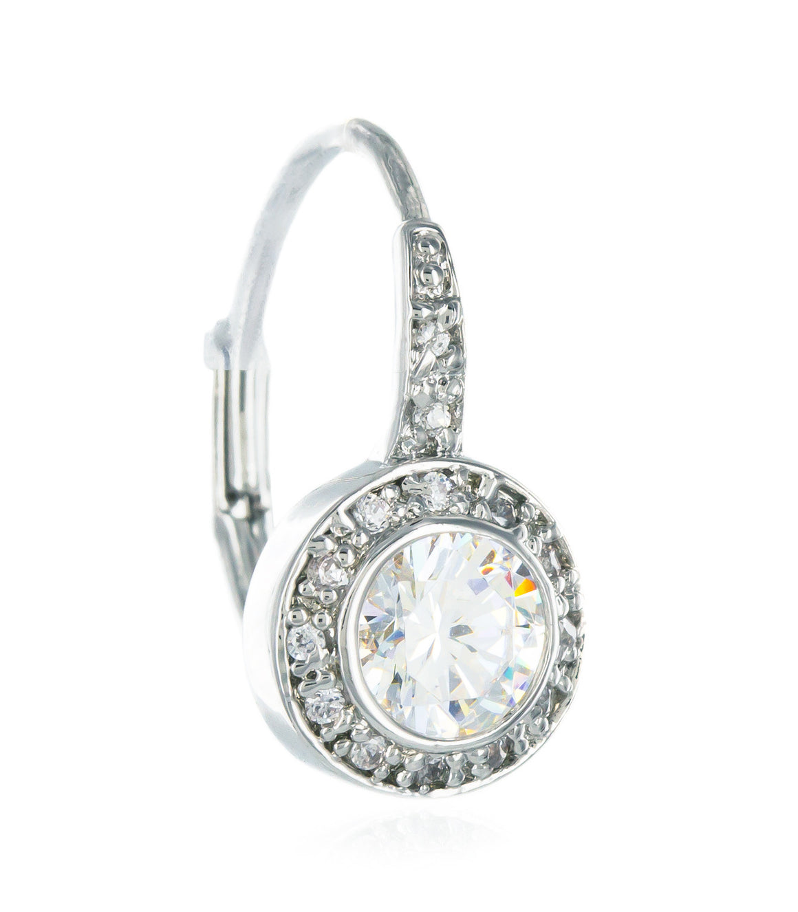 Circle cubic zirconia Sterling Silver Earringss.