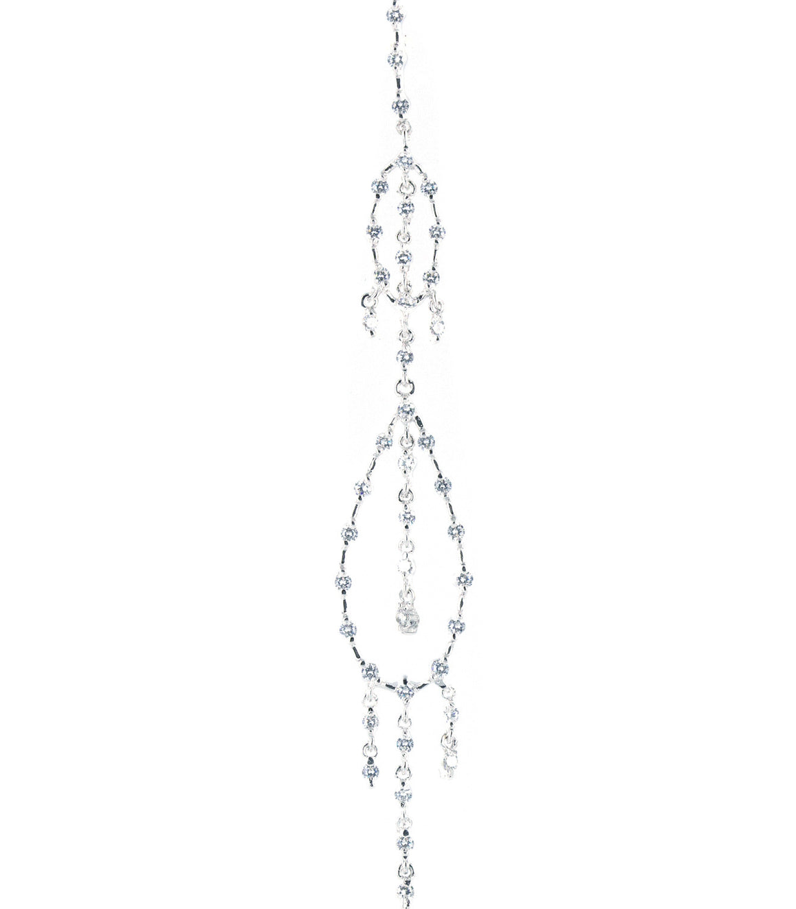 Dramatic dangle chandelier cubic zirconia Sterling Silver Earringss.