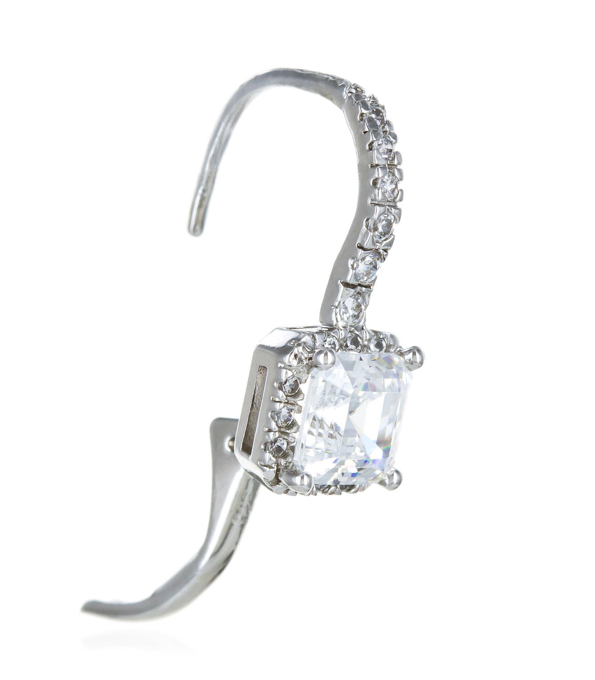 Square cubic zirconia dangle french clip Sterling Silver Earringss.