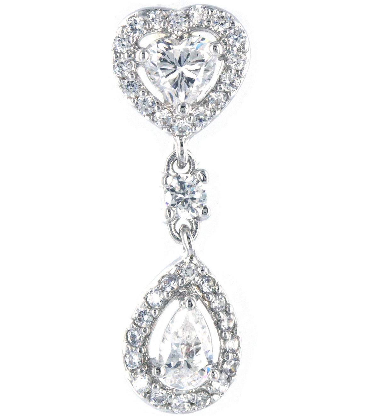 Teardrop heart cubic zirconia Dangle Earringss.