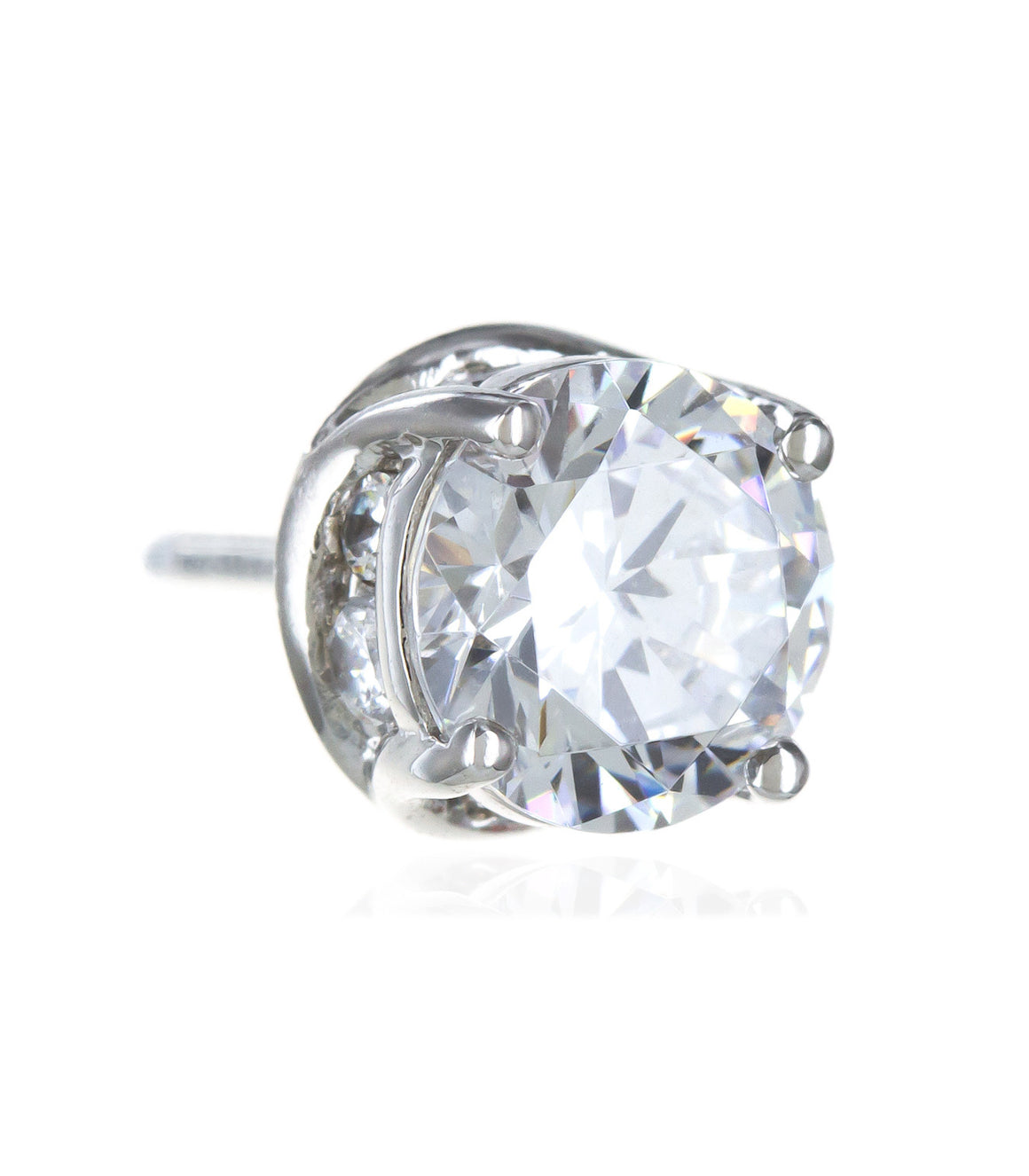 925 sterling silver round cz Stud Earrings