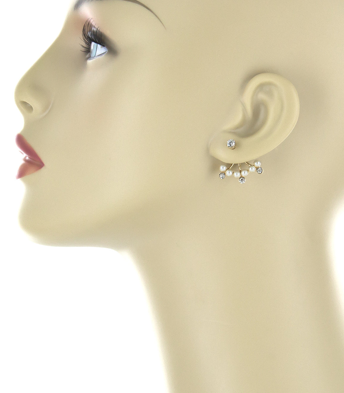Delicate pearl drop earring jackets.