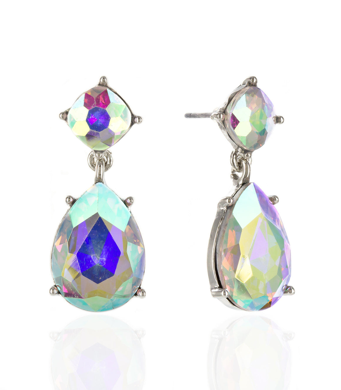 Double drop teardrop iridescent Rhinestone Earringss