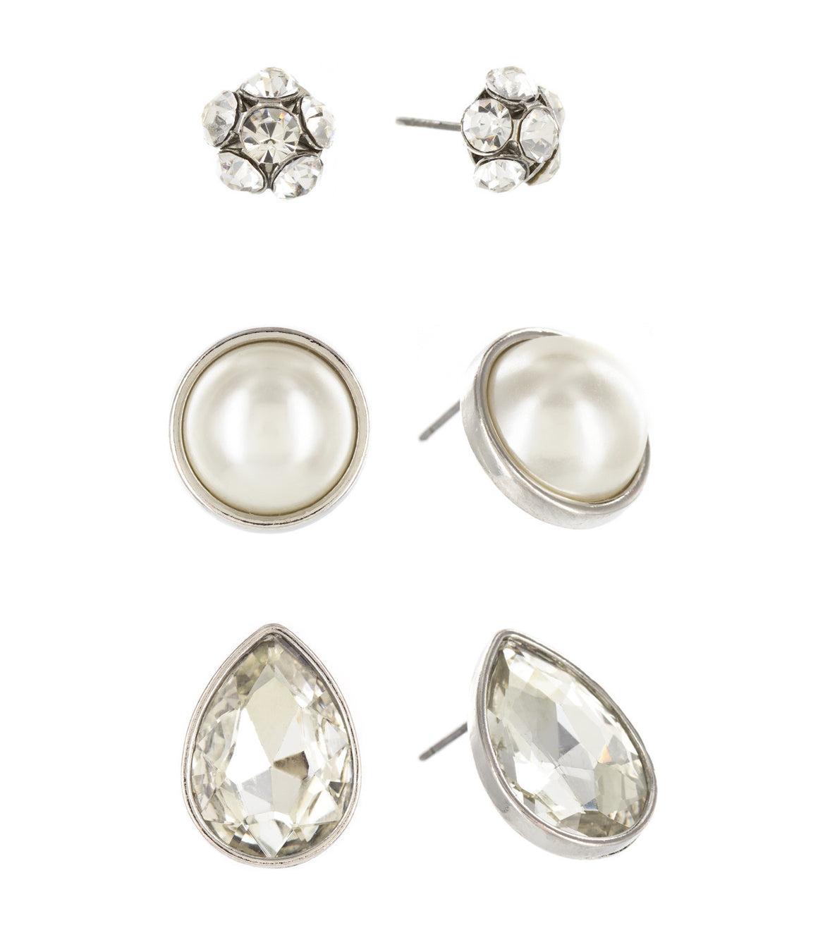 Oversize rhinestone and pearl Stud Earrings Set.