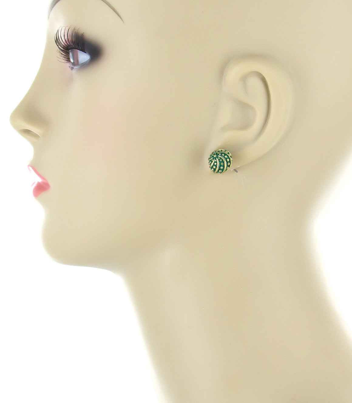 Bright green textured ball Stud Earrings.