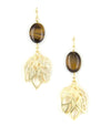 Natural stone leaf dangle earrings.