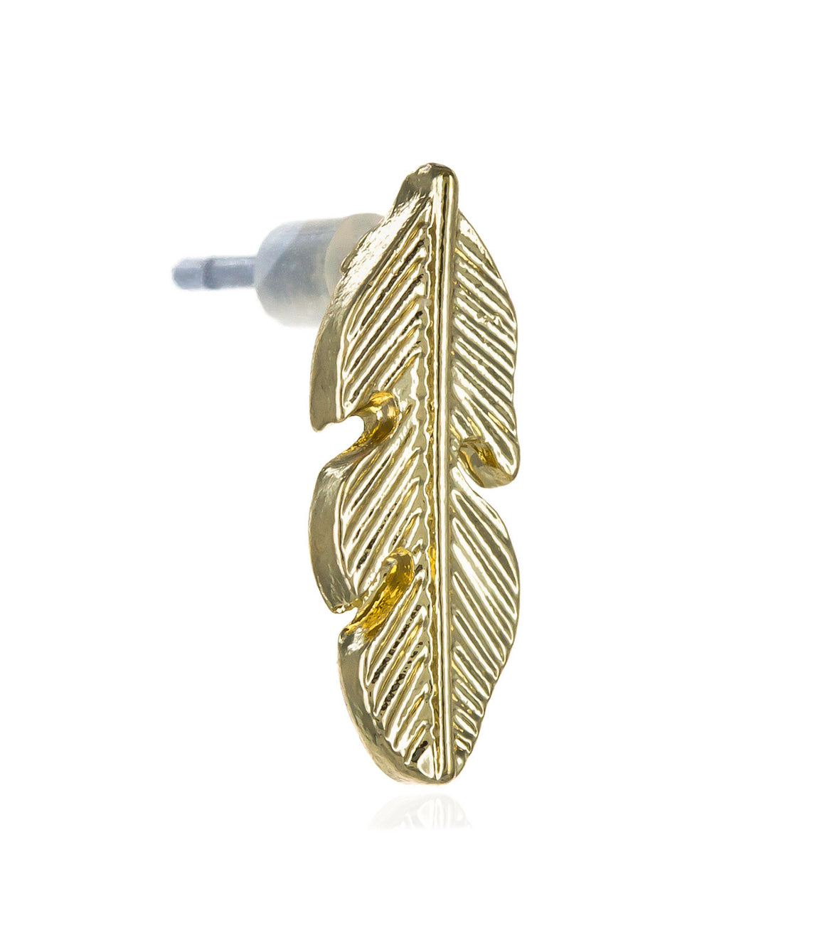 Delicate gold feather studs