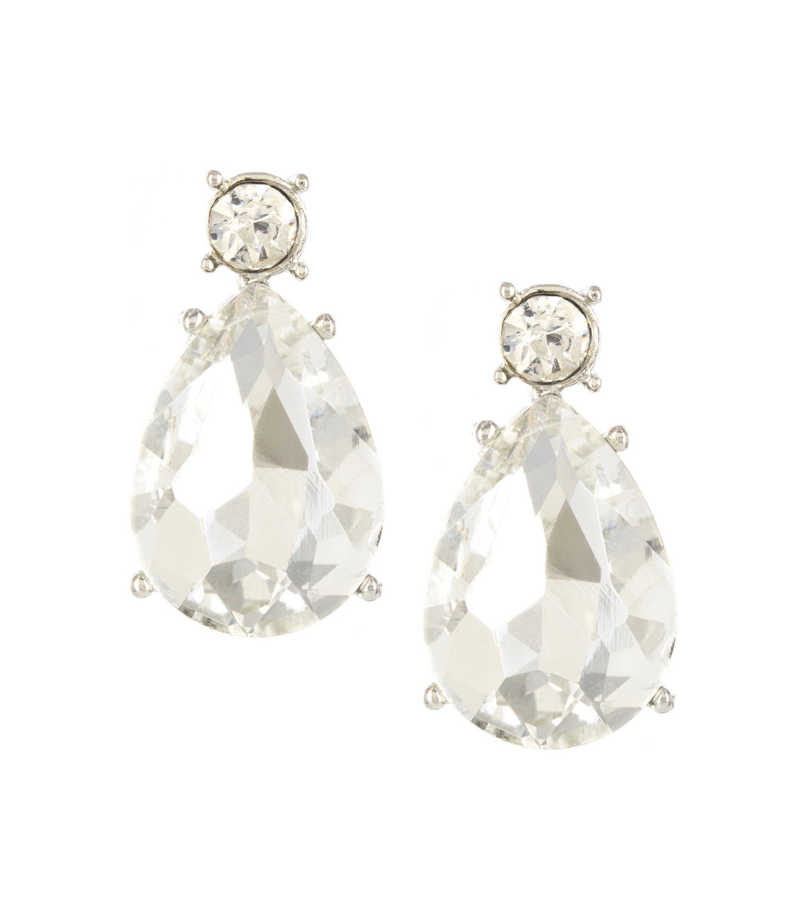 Round and teardrop oversize rhinestone Dangle Earringss.