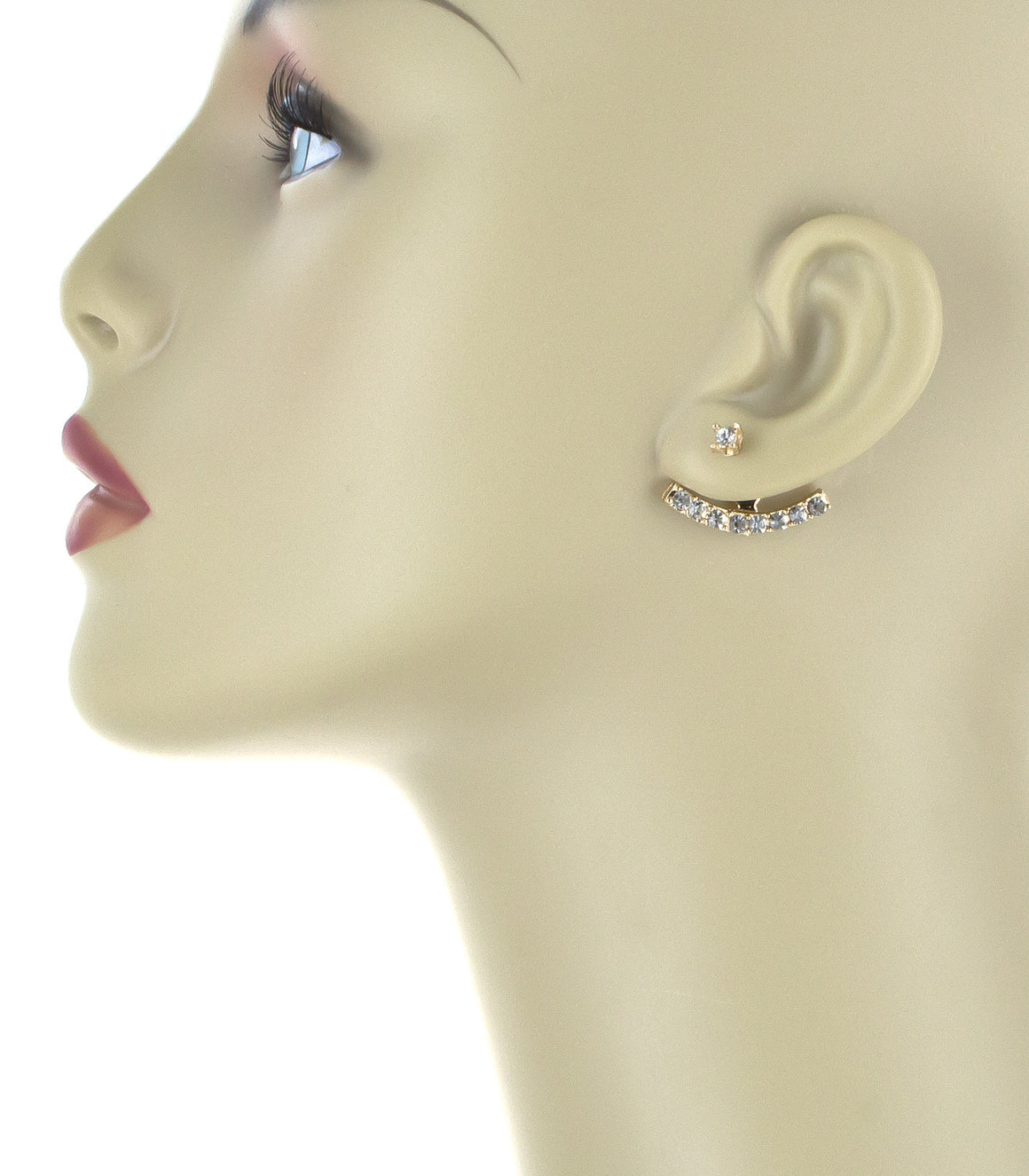 Curved bar peek-a-boo Stud Earrings jackets