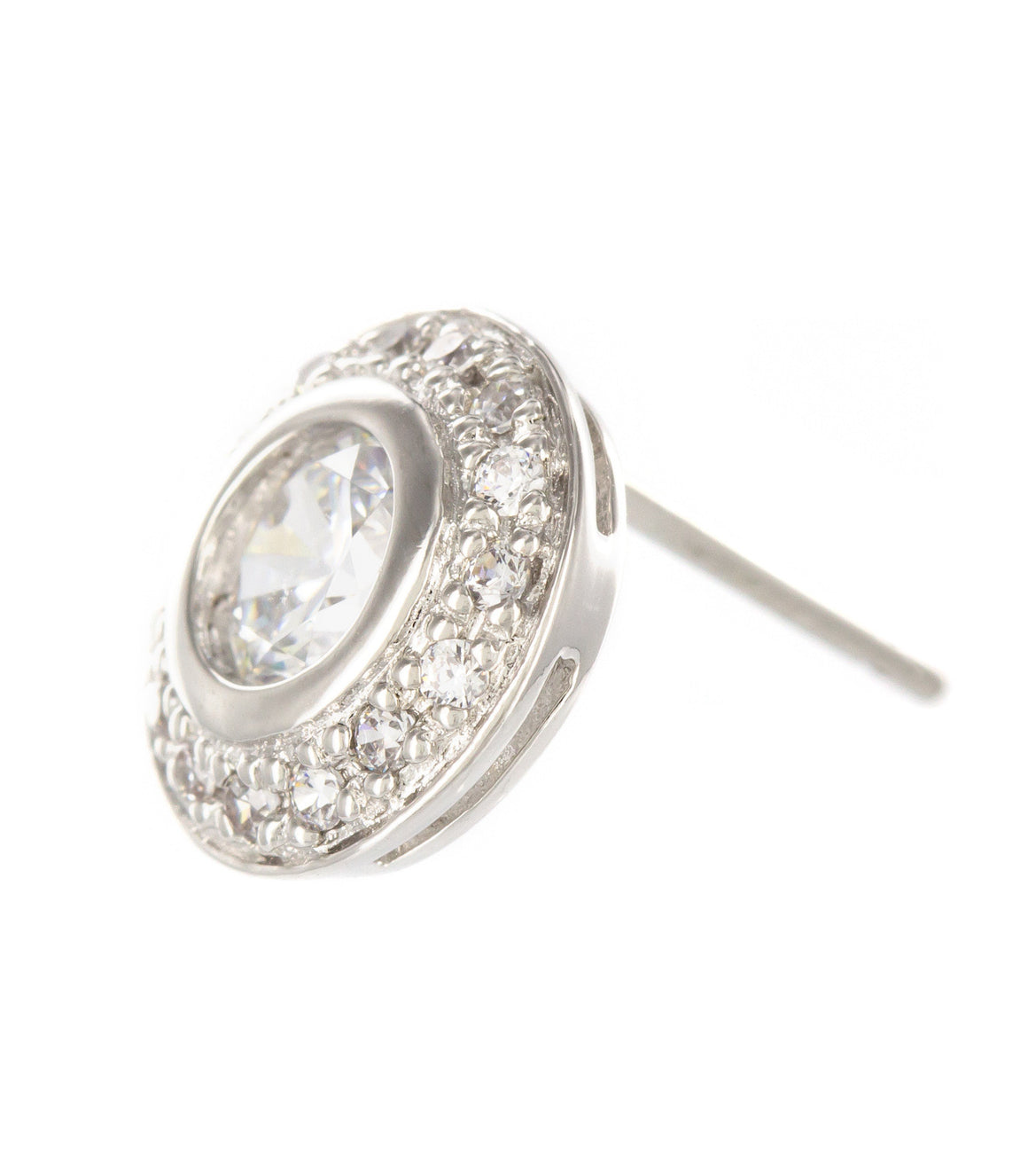 Round cubic zirconia Stud Earrings.