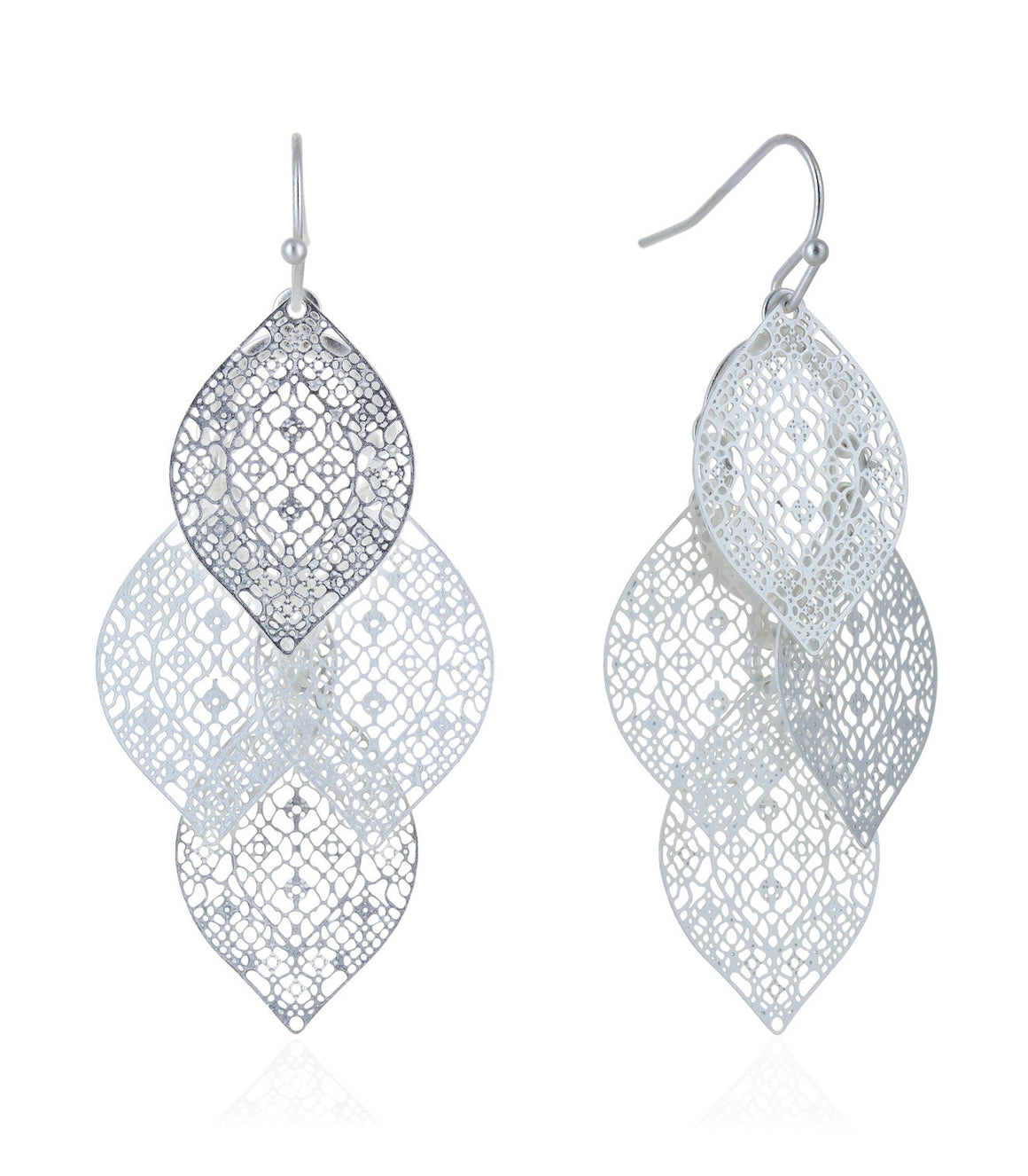 Filigree cut chandelier leaf earrings