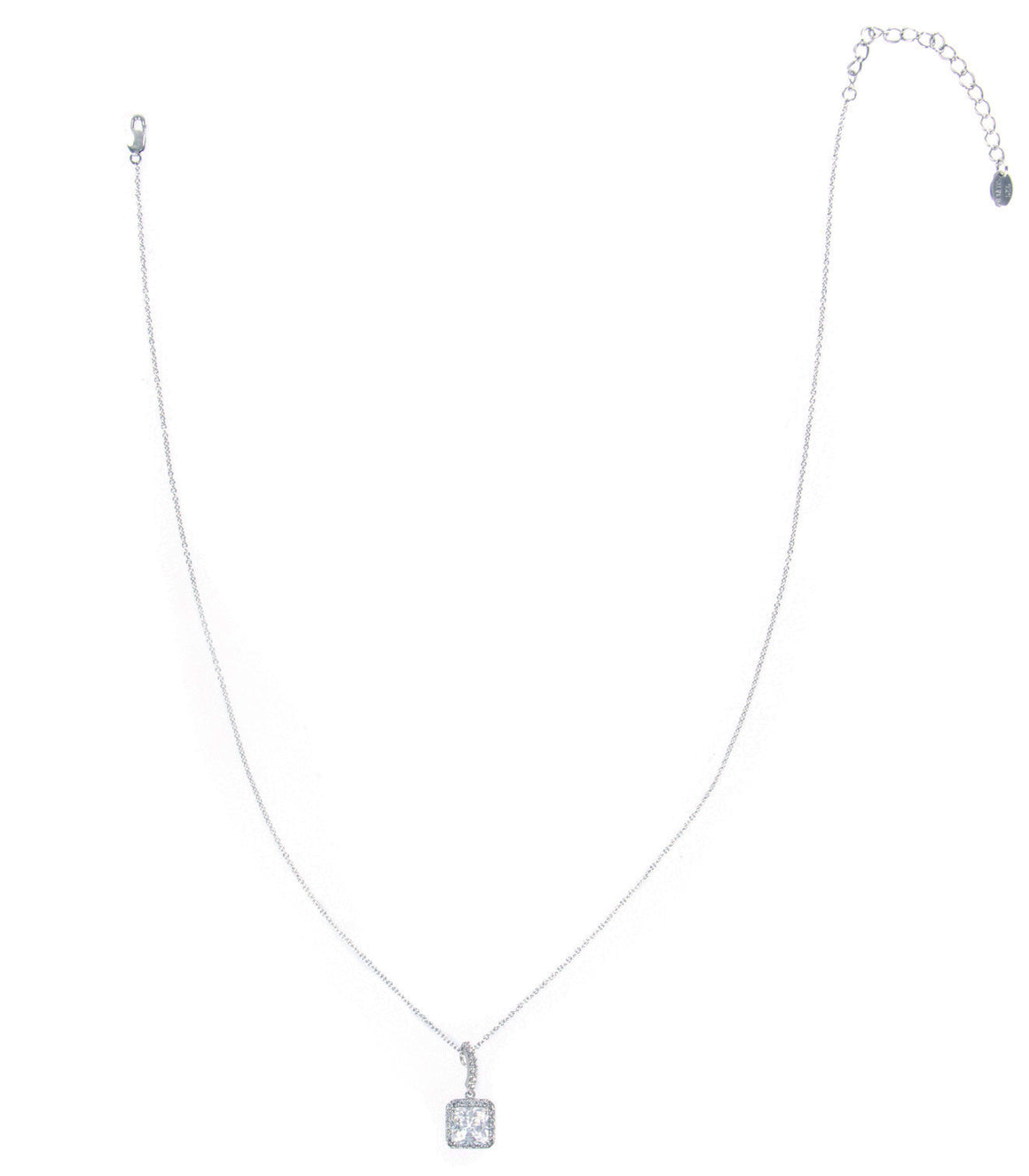 925 sterling silver chain with square cut cubic zirconia pendant