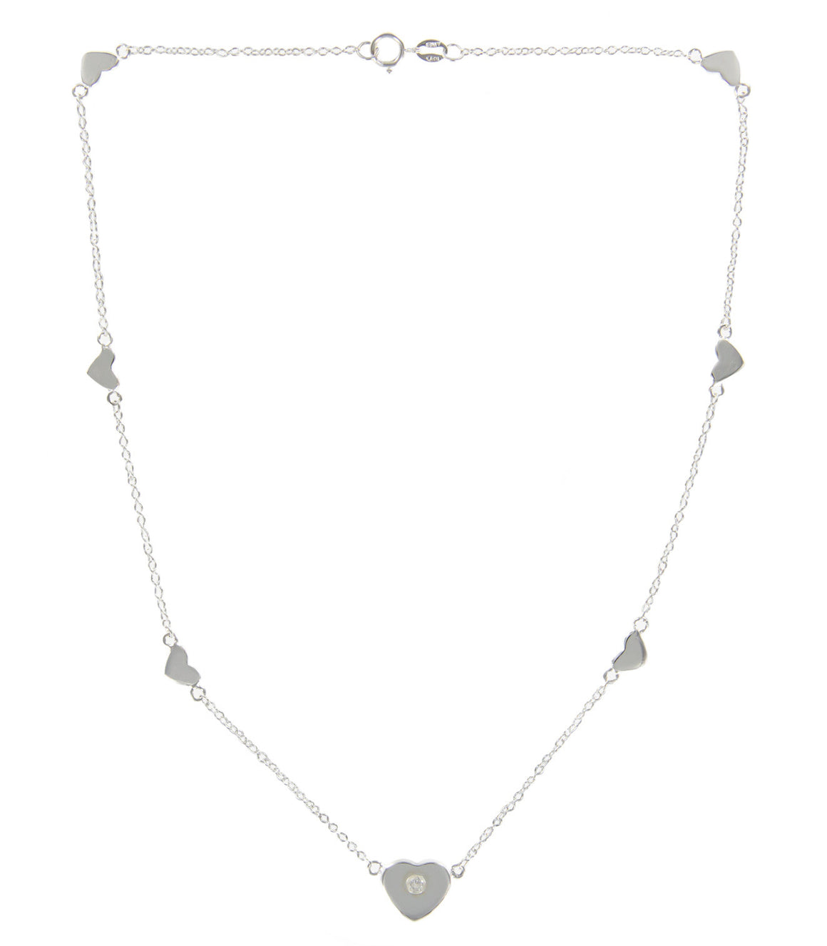 Sterling Silver Heart with Cubic Zirconia Accent Collar Necklace