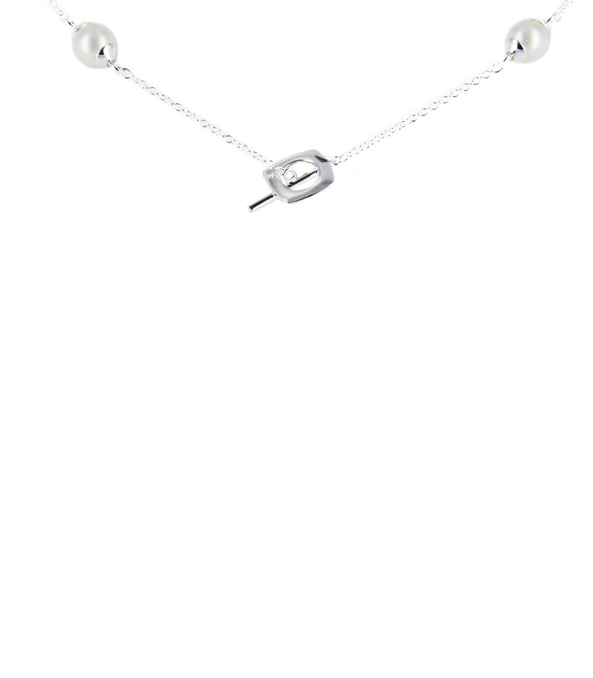 925 Sterling silver square and Pearl Necklace