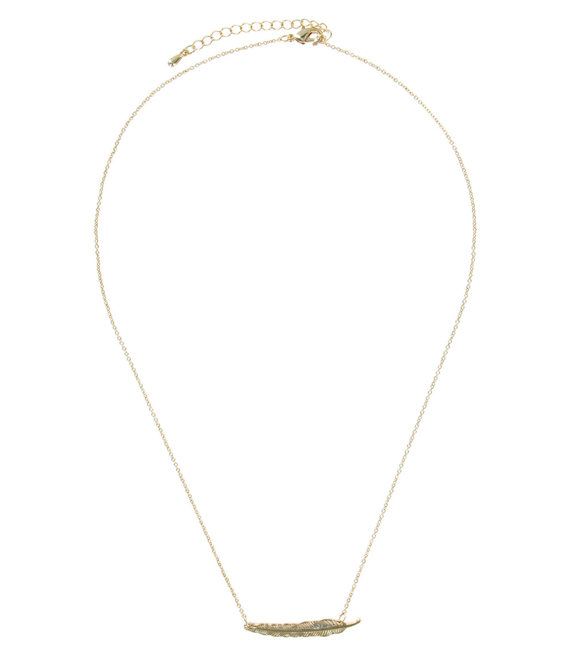 Delicate gold feather Pendant Necklace