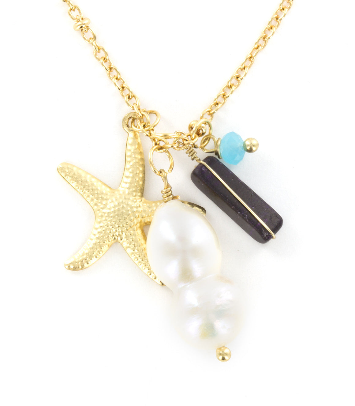 Starfish charm natural stone bead pendant necklace.