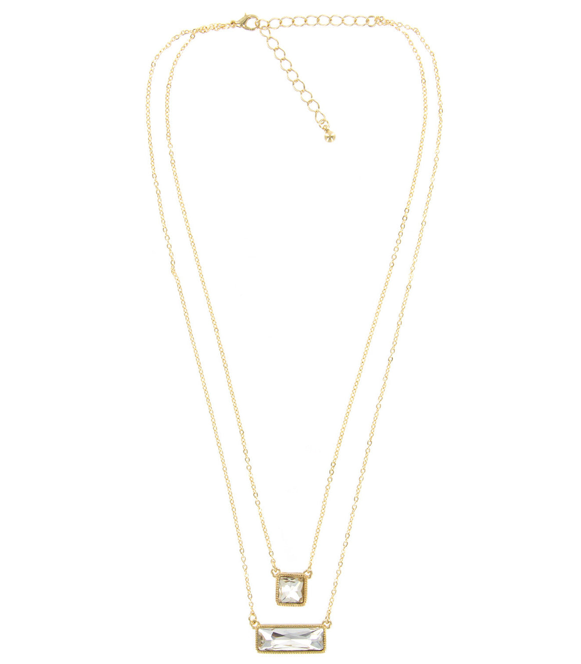 Baguette rhinestone two layer necklace.