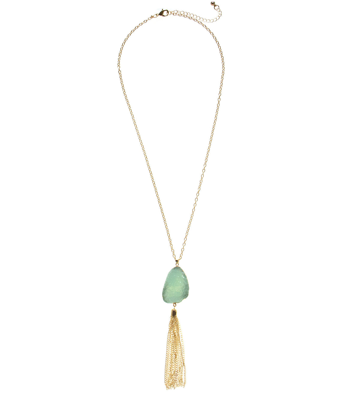 Faux druzy gold wrapped necklace with tassel