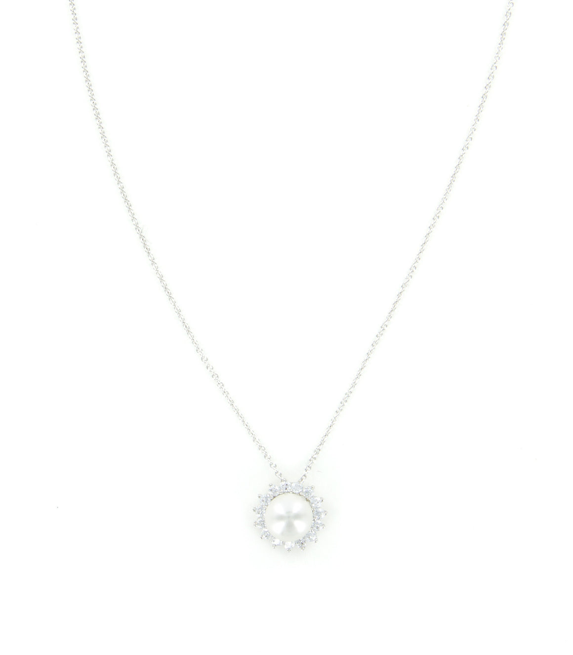 Cubic zirconia surround pearl drop pendant.