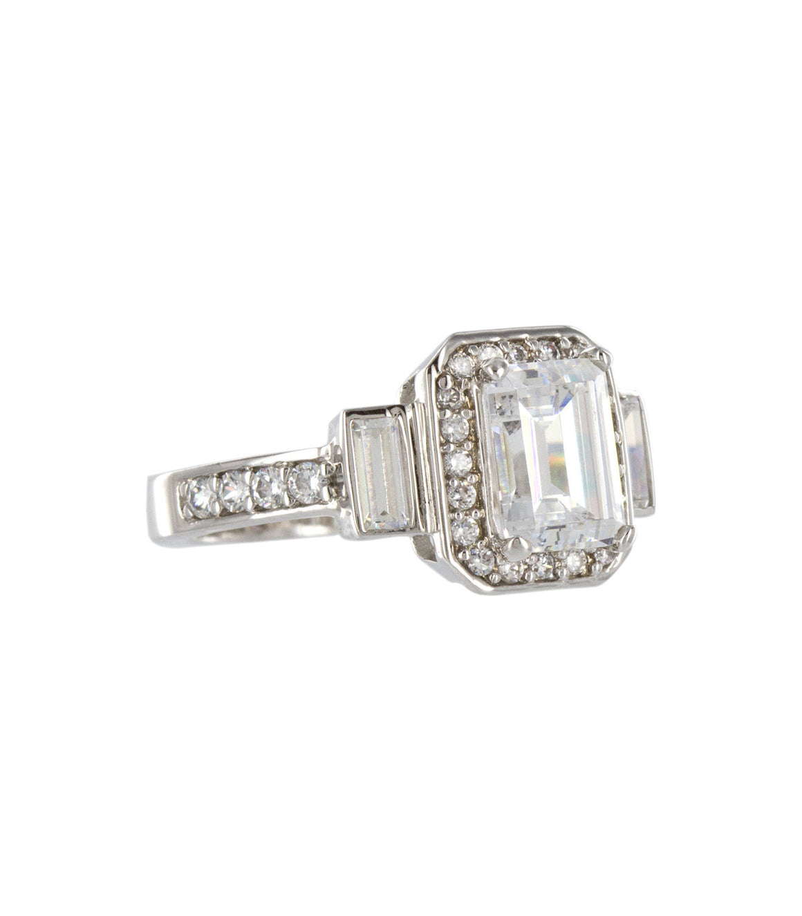 Rectangular cut cubic zirconia statement cocktail ring.