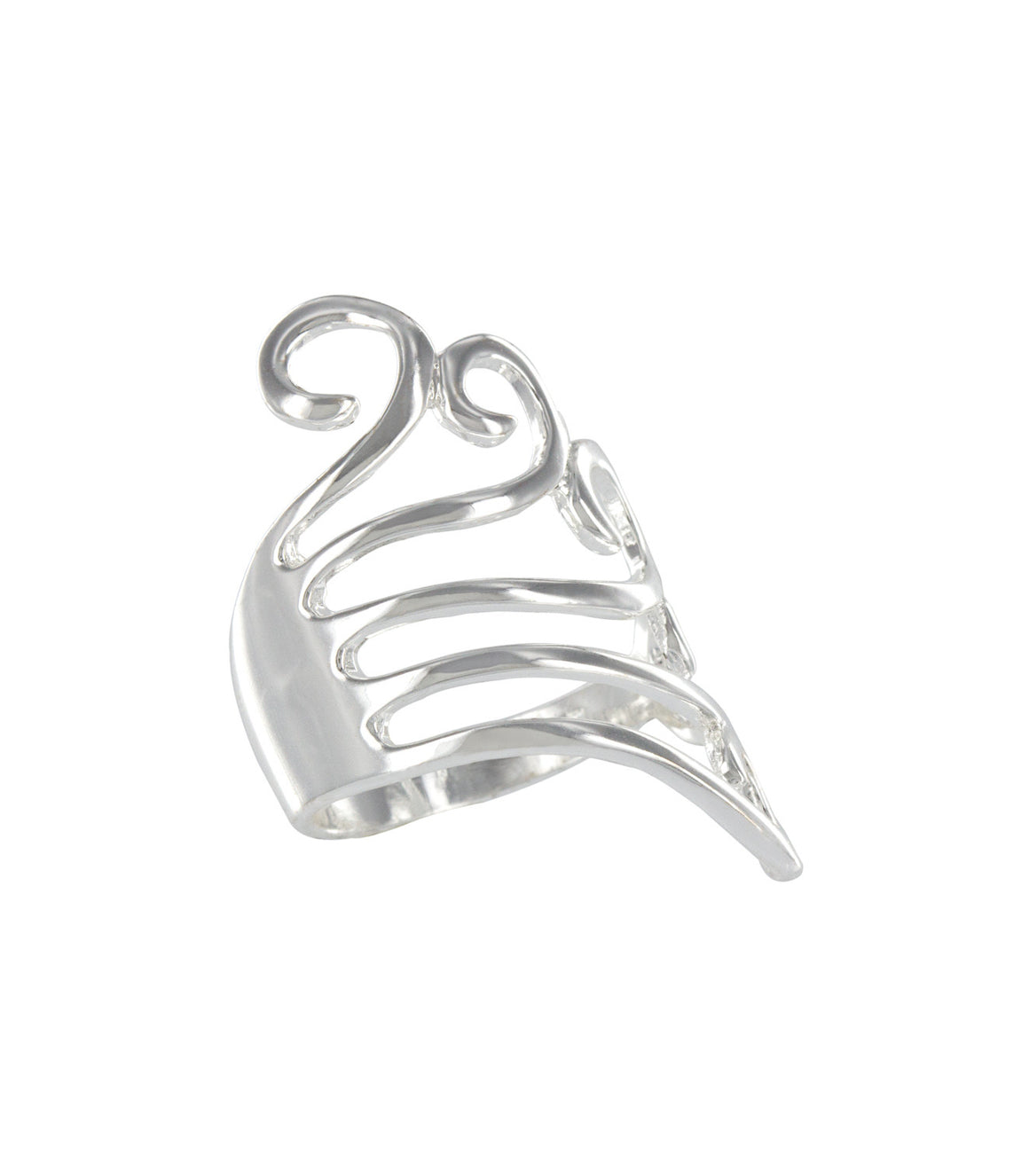 Open cut abstract structural sterling silver ring.